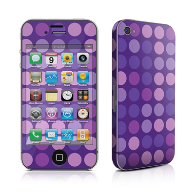 iPhone 4 Skin - Big Dots Purple