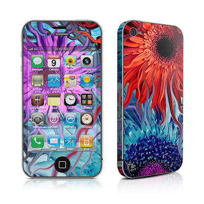 iPhone 4 Skin - Deep Water Daisy Dance