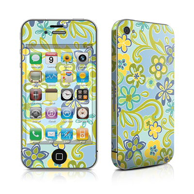 iPhone 4 Skin - Hippie Flowers Blue