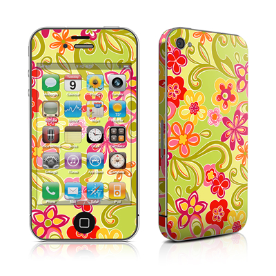 iPhone 4 Skin - Hippie Flowers Hot Pink