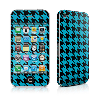 iPhone 4 Skin - Teal Houndstooth