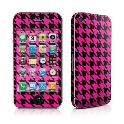 iPhone 4 Skin - Pink Houndstooth