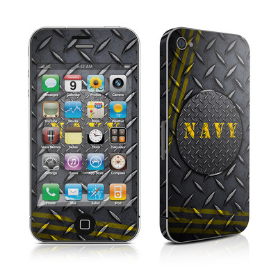 iPhone 4 Skin - Navy Diamond Plate