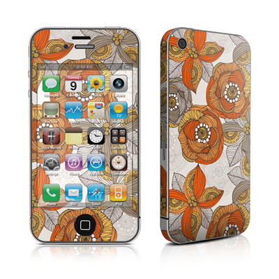 iPhone 4 Skin - Orange and Grey Flowers
