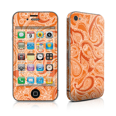 iPhone 4 Skin - Paisley In Orange