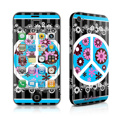 iPhone 4 Skin - Peace Flowers Black