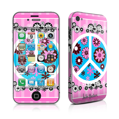 iPhone 4 Skin - Peace Flowers Pink
