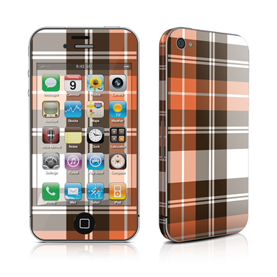 iPhone 4 Skin - Copper Plaid