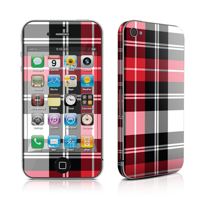 iPhone 4 Skin - Red Plaid