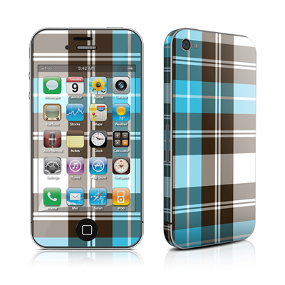 iPhone 4 Skin - Turquoise Plaid