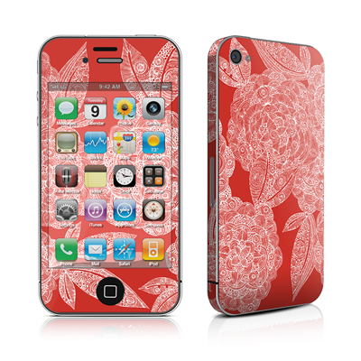 iPhone 4 Skin - Red Dahlias