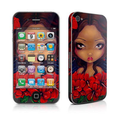 iPhone 4 Skin - Red Hibiscus Fairy