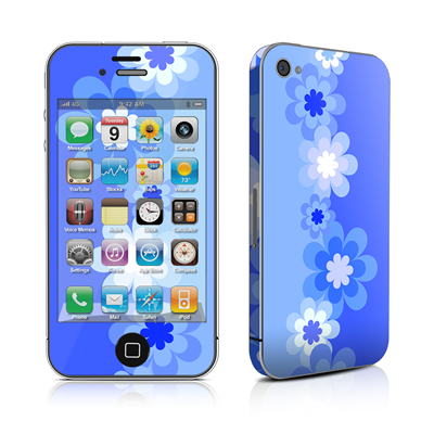 iPhone 4 Skin - Retro Blue Flowers