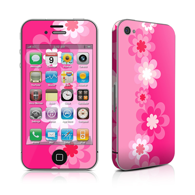 iPhone 4 Skin - Retro Pink Flowers