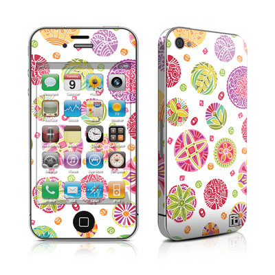iPhone 4 Skin - Round Flowers
