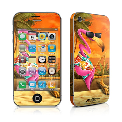 iPhone 4 Skin - Sunset Flamingo
