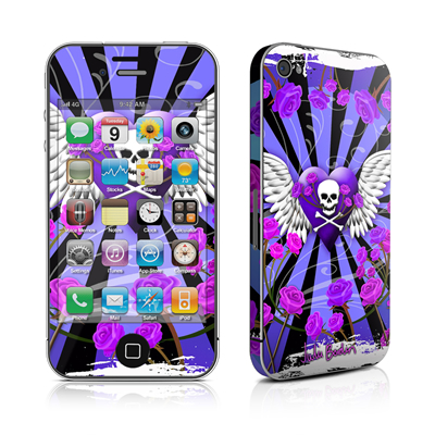 iPhone 4 Skin - Skull & Roses Purple