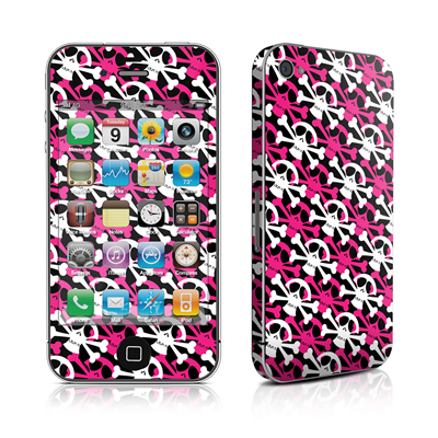 iPhone 4 Skin - Skully Pink
