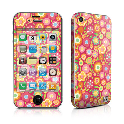 iPhone 4 Skin - Flowers Squished