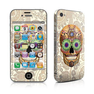 iPhone 4 Skin - Sugar Skull Bone