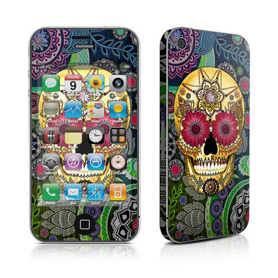 iPhone 4 Skin - Sugar Skull Paisley