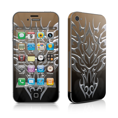 iPhone 4 Skin - Tribal Dragon Chrome