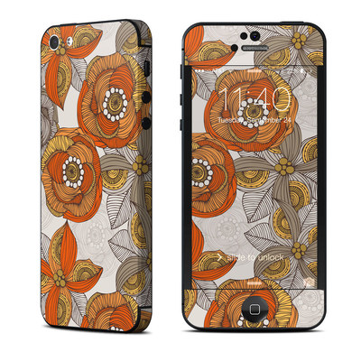 Apple iPhone 5 Skin - Orange and Grey Flowers