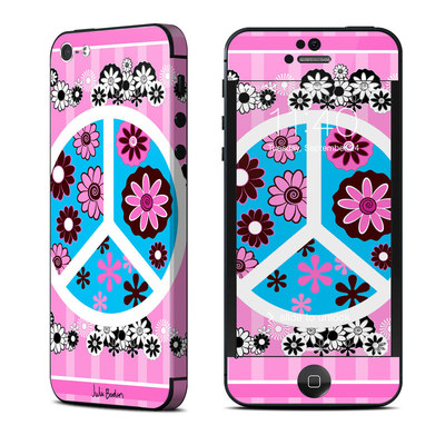 Apple iPhone 5 Skin - Peace Flowers Pink