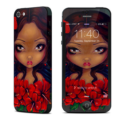 Apple iPhone 5 Skin - Red Hibiscus Fairy