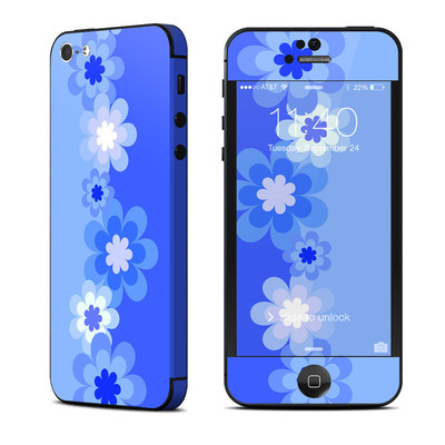 Apple iPhone 5 Skin - Retro Blue Flowers