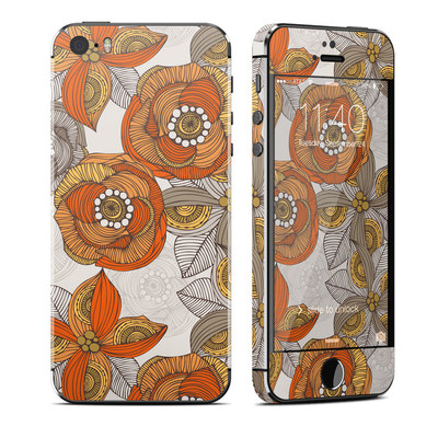 Apple iPhone 5S Skin - Orange and Grey Flowers
