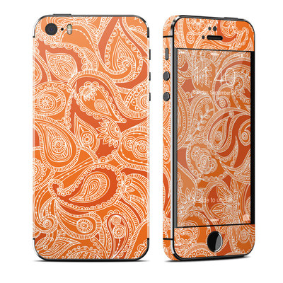 Apple iPhone 5S Skin - Paisley In Orange