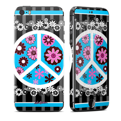 Apple iPhone 5S Skin - Peace Flowers Black