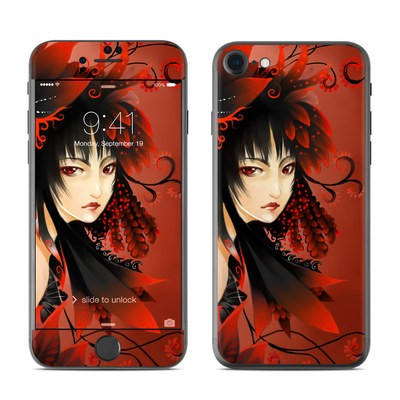 Apple iPhone 7 Skin - Black Flower