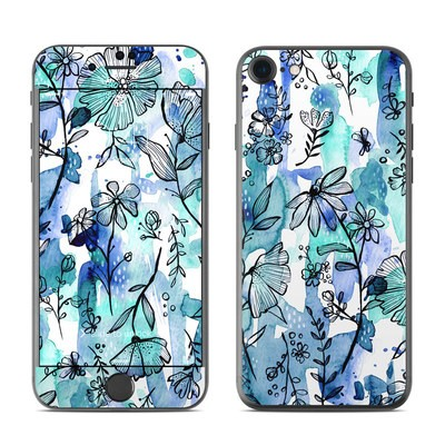 Apple iPhone 7 Skin - Blue Ink Floral