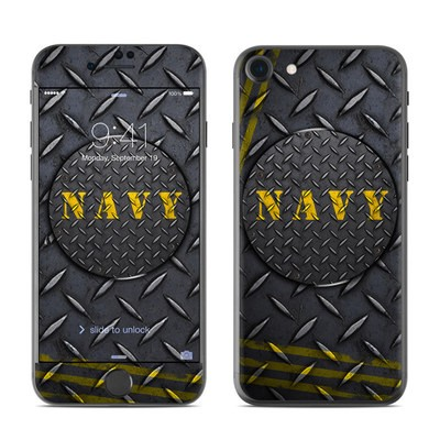 Apple iPhone 7 Skin - Navy Diamond Plate