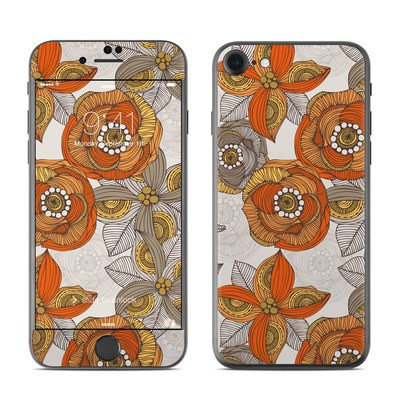 Apple iPhone 7 Skin - Orange and Grey Flowers