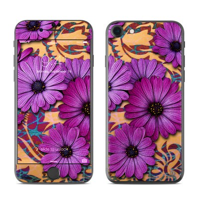 Apple iPhone 7 Skin - Purple Daisy Damask