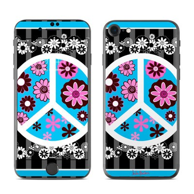 Apple iPhone 7 Skin - Peace Flowers Black