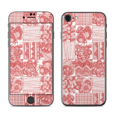 Apple iPhone 7 Skin - Red Quilt