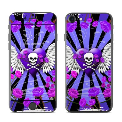 Apple iPhone 7 Skin - Skull & Roses Purple