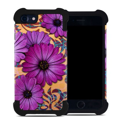 Apple iPhone 7 Bumper Case - Purple Daisy Damask