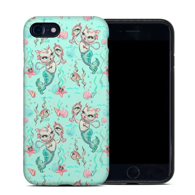 Apple iPhone 7 Hybrid Case - Merkittens with Pearls Aqua