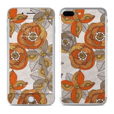 Apple iPhone 7 Plus Skin - Orange and Grey Flowers