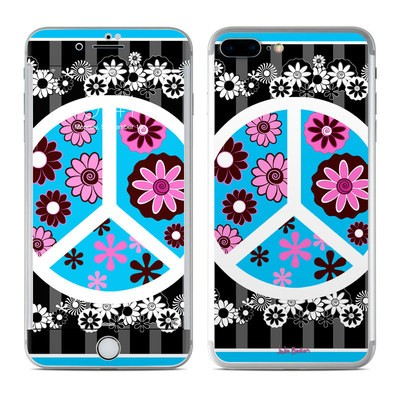 Apple iPhone 7 Plus Skin - Peace Flowers Black
