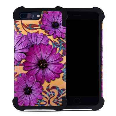Apple iPhone 7 Plus Bumper Case - Purple Daisy Damask