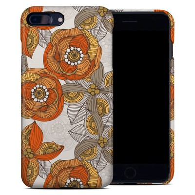 Apple iPhone 7 Plus Clip Case - Orange and Grey Flowers