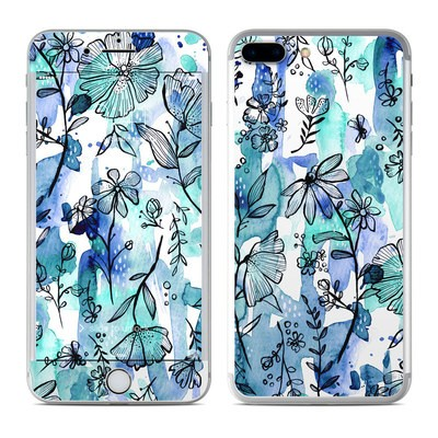 Apple iPhone 8 Plus Skin - Blue Ink Floral