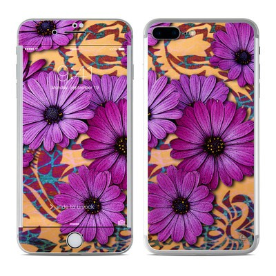 Apple iPhone 8 Plus Skin - Purple Daisy Damask