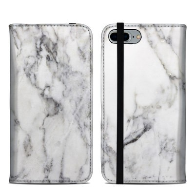 Apple iPhone 8 Plus Folio Case - White Marble